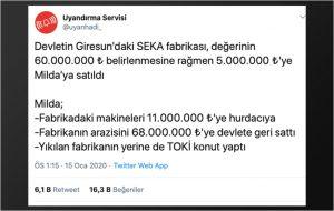 SEKA Giresun Fabrikasının 5 milyon TL'ye Satılıp 68 Milyon TL'ye Geri Alındığı İddiası