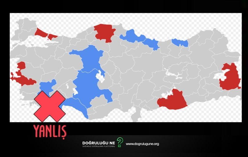 Türkiye'deki Koronavirüs Vakalarının Haritada Gösterildiği İddiası