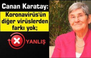 Canan Karatay'ın, Koronavirüs'ün salgın olmadığı ve abartıldığı iddiası